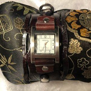 Geneva Leather Wide Band Cuff Watch